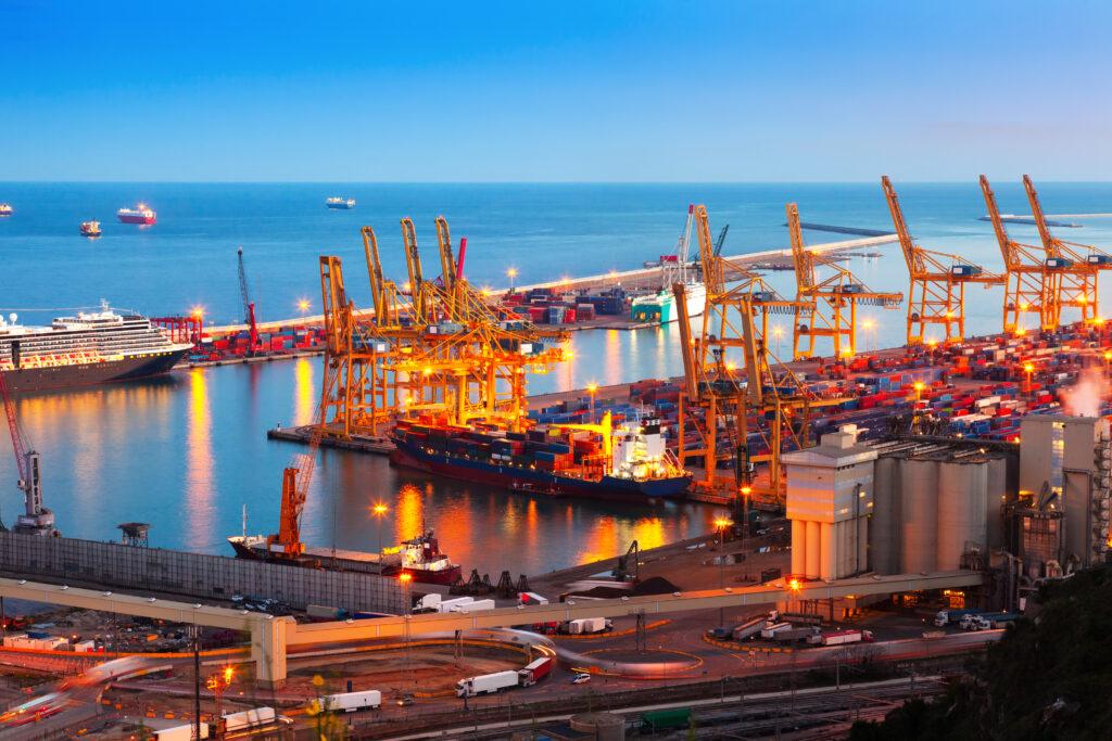industrial port de barcelona evening